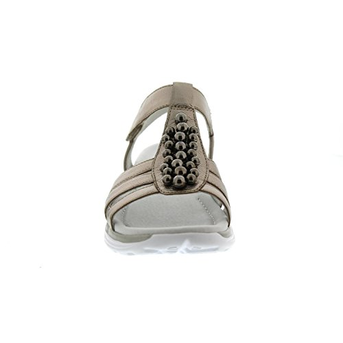 Remonte Gabor Rollingsoft Sandal, Idra Metallisk, Mutaro (perler), Velcro 86.912.83, Størrelse 42