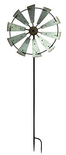 DeLeon Collections Rustic Farmhouse Metal Windmill Garden Stake