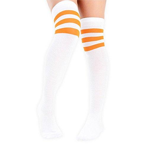 Wei colores calcetines Mit rodilla 4 3 a Eesa Orangenen Mujer alto Adam la Streifen rayas Muslo en en Cosplay 1AnZSRqw