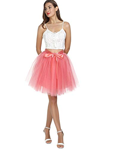 Women's High Waist Princess Tulle Skirt Adult Dance Petticoat A-line Wedding Party Tutu Watermelon Red -
