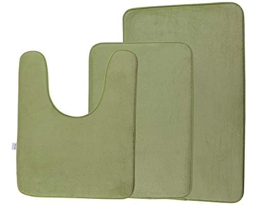 Via Jay Non Slip Memory Foam Bathroom Mat Rug 3 Pack Set, Includes 1 Small (16