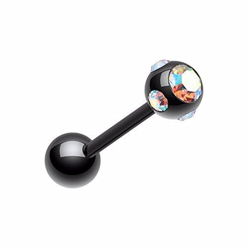 Colorline PVD Aurora Gem Ball Steel Barbell WildKlass Tongue Ring (Gem Slave Rings Tongue)