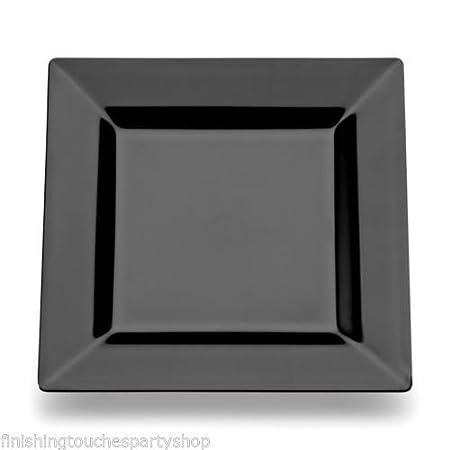 60 Disposable Plastic Black Square Buffet Side Plates 7u0026quot; ...  sc 1 st  Amazon UK & 60 Disposable Plastic Black Square Buffet Side Plates 7