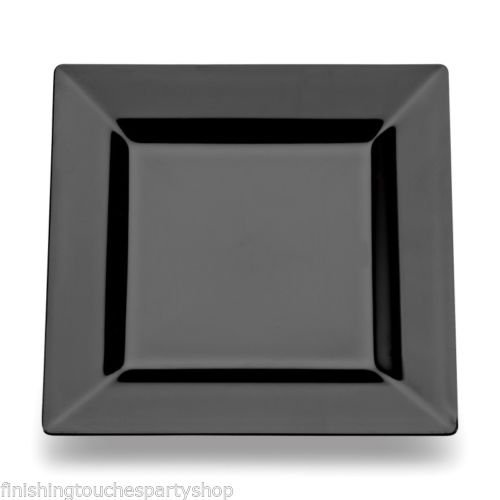 60 Disposable Plastic Black Square Buffet Side Plates 7  18cm Amazon.co.uk Kitchen u0026 Home  sc 1 st  Amazon UK : white square side plates - pezcame.com