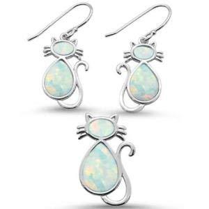White Opal Cat Design Earring & Pendant 925 Sterling Silver Set - Jewelry Accessories Key Chain Bracelet Necklace Pendants ()