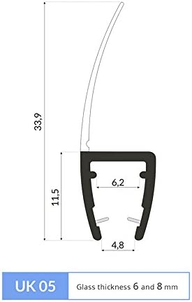1.4m Joint de douche UK05 pour 6 et 8mm epaisseur decrans