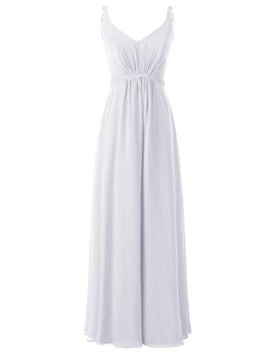Applique Delle Donne In Chiffon Bianco Lungo Abiti Alagirls Da Nozze A Di Abiti Da Festa Con Ballo Sqaz78