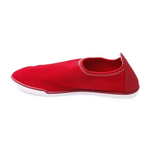 La Modeuse zapatillas-slip-on unidos en lienzo Rojo - rojo