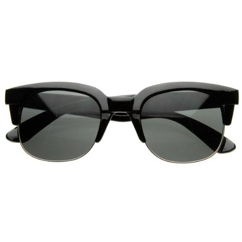 zeroUV - Super Square Modern Fashion Half Frame Retro Horn Rimmed Sunglasses (Shiny Black)