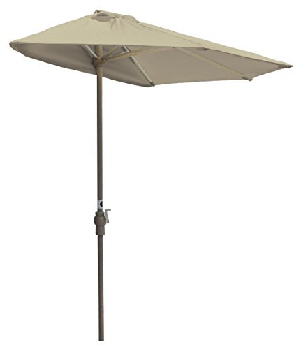 Blue Star Group Off-The-Wall Brella Olefin Half Umbrella, 7.5'-Width, Antique Beige