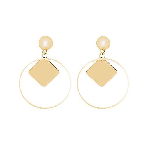 (Jocund Women Geometric Circle Diamond Fashion Simple European and American Earrings Wild Ladies Fashion Jewelry)