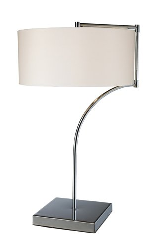 Steel Table Chrome (Dimond D1833 12-Inch Width by 22-Inch Height Lancaster Table Lamp in Chrome with Milano Pure White Shade)