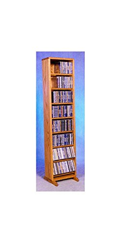(12.25 in. Dowel CD Storage Tower (Honey Oak))