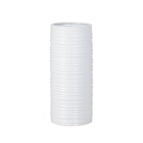 (Torre & Tagus 901462 Ripple Ceramic Cylinder Vase, Tall, White)