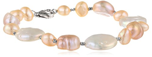 Sterling Silver Dyed Multi-Color Baroque and Coin Freshwater Cultured Pearl Knotted Bracelet,7.5