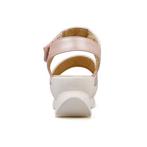 AllhqFashion Mujeres Puntera Abierta Cuero Velcro Sólido Plataforma Sandalia Rosa