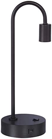Grandview Gallery 17 Black Industrial Desk Lamp w USB Port Built-in, Table Reading Lamp, Exposed Bulb Design, and Convenient Rocker Switch