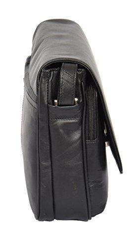 Damen Echtes Leder Klassische Klappe über Kreuz Körper Schultertasche Maldives Schwarz 27x20x7cm