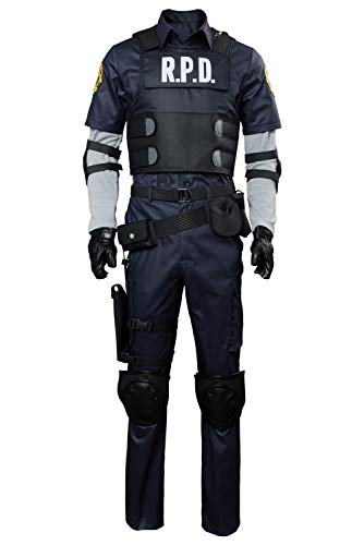Adult Leon Kennedy Cosplay Costume Hoodie Halloween Resident Secret Service Evil Full Set Outfits]()