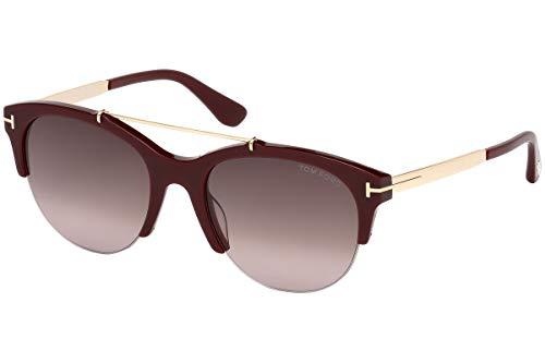 Tom Ford FT0517 Adrenne Sunglasses Burgundy Gold w/Dark Red Gradient Lens 69T TF517