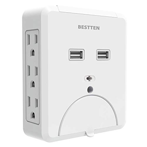 BESTTEN 6 Side-Access Wall Tap Outlet with Dual USB Charging Ports (2.1A Shared) and 2 Cell Phone Holders, Wall Mountable 735 Joule Surge Protector, ETL Certified, White
