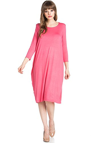 12-ami-round-neck-3-4-sleeve-tulip-hem-midi-dress-coral-s