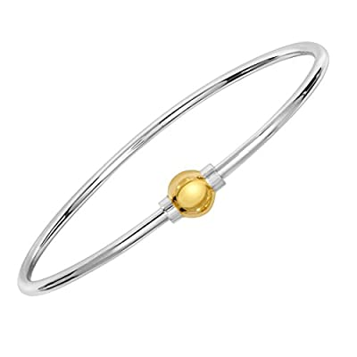 Ocean Side Bracelet, 925 Sterling Silver And 14K Yellow Gold Solid Gold Ball Screw Bracelet. from Unique Royal Jewelry