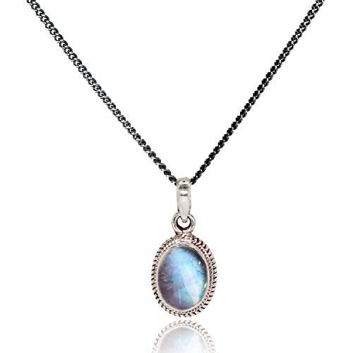 Luna Azure Sterling Silver 925 Natural Moonstone Oval Pendant Necklace 18