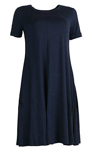 Aecibzo Tunique T-shirt Casual Coupe Ample Manches Courtes Femmes Robe Bleu Foncé