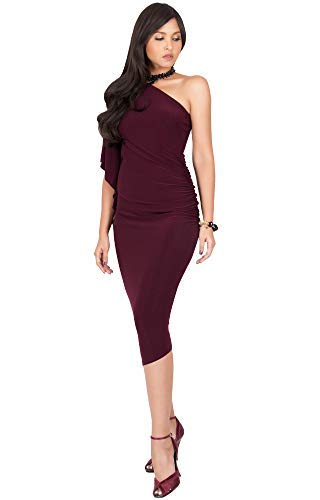 KOH KOH Plus Size Womens One Off The Shoulder Sexy Long Formal Cocktail Bridesmaid Evening Elegant Wedding Guest Night Party Summer Sun Midi Dress Dresses for Women, Maroon Wine Red 3XL 22-24