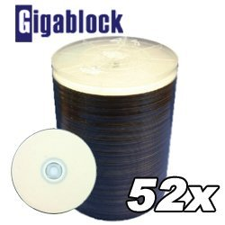 1,000pcs Gigablock CD-R 52x 700MB 80Min White Inkjet Hub printable top by Gigablock