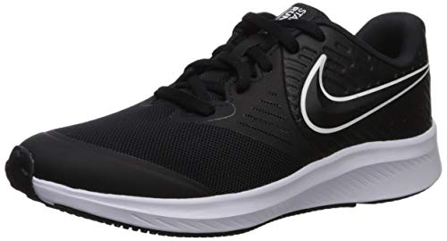 Nike Star Runner 2 (GS) Sneaker, White-Black-Volt, 4Y Youth US Big Kid
