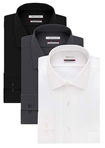 (Van Heusen Men's Flex Collar Regular Fit Solid Spread Collar Dress Shirt, White/Black/Charcoal, 17