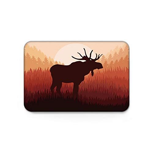 (Lazone Modern Doormat with Non Slip Backing Door Mat Home Decor,The Shadow of Moose Animal Pattern Carpet,Mats for Outdoor Indoor Entrance Bedroom Shoes Scraper,20 x 31.5 inch)