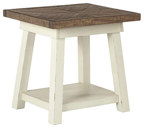 Ashley Furniture Signature Design – Stowbranner Casual Rectangular End Table – Two-tone White and Brown
