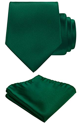 Solid Color Neck tie, Pocket Square set,Satin Super Fine Micro Fiber,Silky Finishing,Gift Box Packing. (Hunter Green)