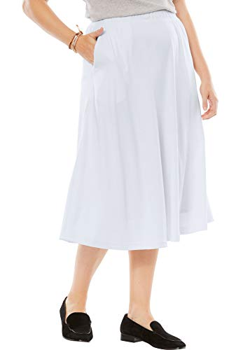 Woman Within Women's Plus Size Petite 7-Day Knit A-Line Skirt - White, LP
