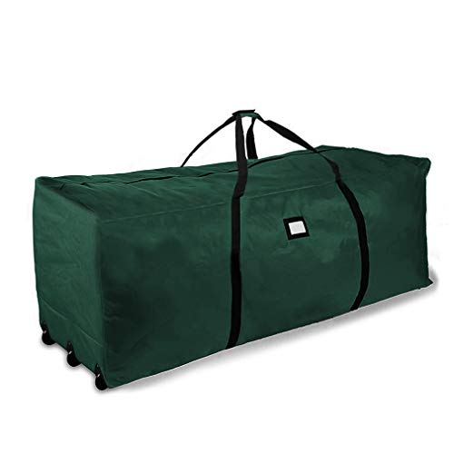 """ProPik Holiday Rolling Tree Storage Bag, Extra Large Heavy Duty Storage Container, 28"""" H X 16.5"""" W X 60"""" L with Wheels & Handles Fits Up to 9 Foot Tall Disassembled Trees 600D Oxford (Green)"""