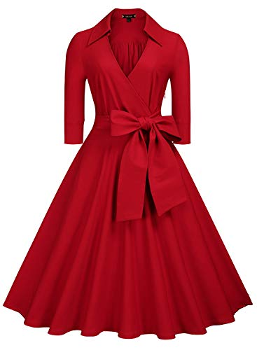 Miusol Women's Deep-V Neck Classical Bow Belt Vintage Casual Swing Dress (Large, A-Red)