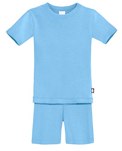 City Threads Certified Organic Thermal Short Sleeve and Short Snug Pajama Set, Baby Boys and Girls for Sensitive Skin, Bright Light Blue, 3T