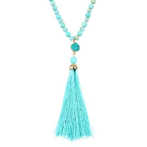 RIAH FASHION Bohemian Pendant Beaded Long Statement Necklace - Sparkly Crystal Bead Boho Teardrop, Natural Stone, Tassel Charm Wrap Lariat (Druzy Tassel - Turquoise)