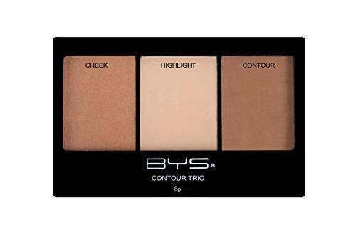 BYS Contour Trio Powder Palette Lift Contour Highlight Compact Makeup Set - What Skin For Pale Color Best Is