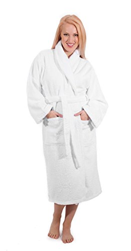 Classic Turkish Towels Luxury 550 GSM Low Twist Cotton Terry Bathrobe Unisex (Large, (Classic Terry Robe)