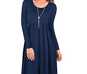 Dress Long Sleeve O Neck Solid Color Loose Dresses For Women