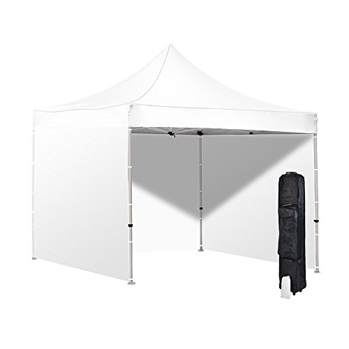 Cheap Vispronet 10×10 White Canopy Tent Kit with Sidewalls – Includes Durable Steel 10ftx10ft Frame, Water-Resistant Canopy Top and 3 Sidewalls, Heavy Duty Roller Bag, and a Bonus Stake Kit