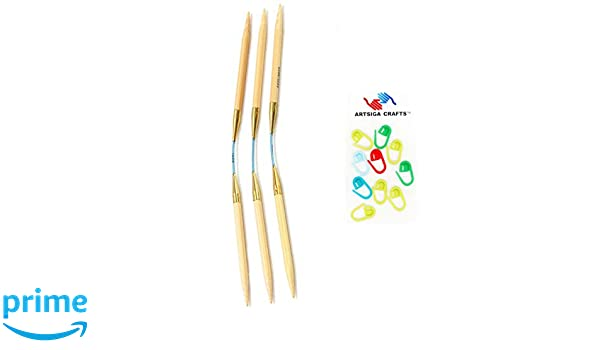 3.0mm Set of 3 Size US 02 addi Knitting Needles FlexiFlips Double Pointed White-Bronze Skacel Exclusive Blue Cord 8 inch Bundle with 10 Artsiga Crafts Stitch Markers 20cm