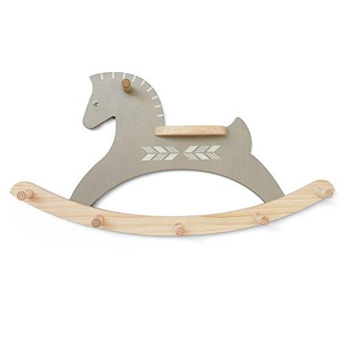 (Antique Alive Home Decor Handmade Pony Horse Wooden Wall Mount Hat Cap Scarf Clothing Coat Rack Handbag Animal Decorative Hooks Hanger Display Flower Pot Planter Shelf (Gray))