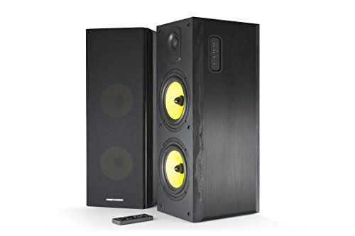 """Thonet and Vander Koloss 2.0 800 Watts Wood Hi-Fi Bluetooth 4.0 Speakers with Integrated Amplifier, 3.5mm Stereo, RCA Stereo, and Digital Optical Audio Inputs, 8.5 x 9.4 x 21.9 """", 1 Pair, Black"""