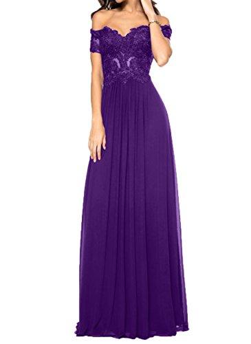 Schwarz Violett Abiballkleider Spitze Lang Festlichkleider Promkleider Damen Charmant Brautmutterkleider 8Zw5g5