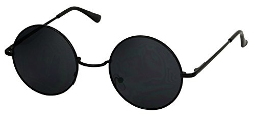 Basik Eyewear - Classic Round Metal Circle Lennon 60's Style Vintage Hippy Sunglasses (Black, 5 - Circle Sunglasses Black
